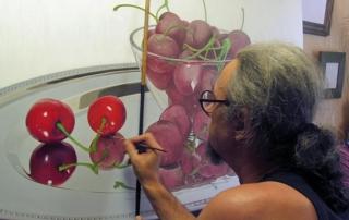 Бойко Колев рисува натюрморт с череши 2017