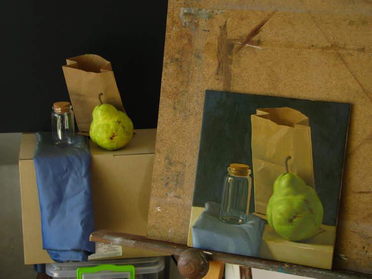 """Работен процес на картината """"Натюрморт с круша"""", 2016"""