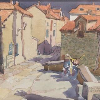 Ivan Stratiev - Kashti v Over Sur Oaz-24x30-akvarel_platno
