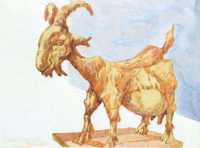 Ivan Stratiev - Kozata na Picasso-25x35 akvarel