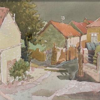 Ivan Stratiev - ulitsa v Over - 24x30-akvarel_platno
