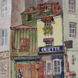 Ivan Stratiev - ulitsa v Paris-akvarel-50x33
