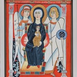 Nenchevi-Bogoroditsa na tron-koptska ikona-34x28