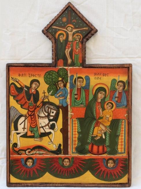 Nenchevi-koptska ikona-Bogoroditsa i Sveti Georgi-54x36