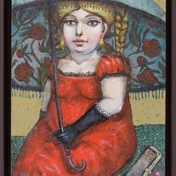 Елисавета Ангелова - Дамата с алените цветя 46x33