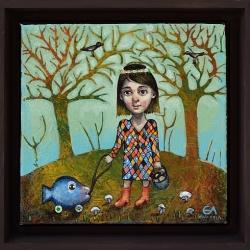 Елисавета Ангелова - Разходка със синята риба-20x20