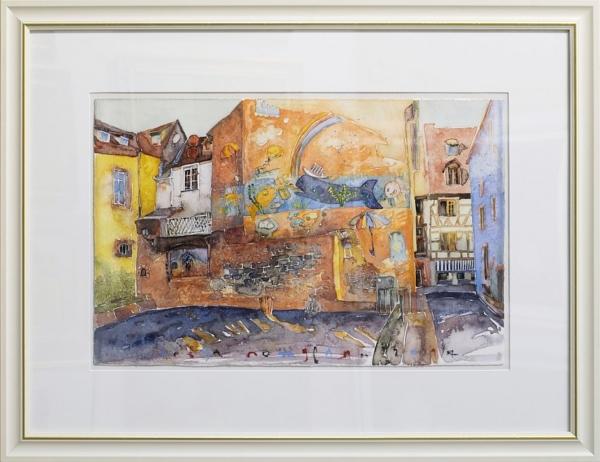 Sevda Poturlyan - akvarel-Slanchevo grafiti-55x74cm