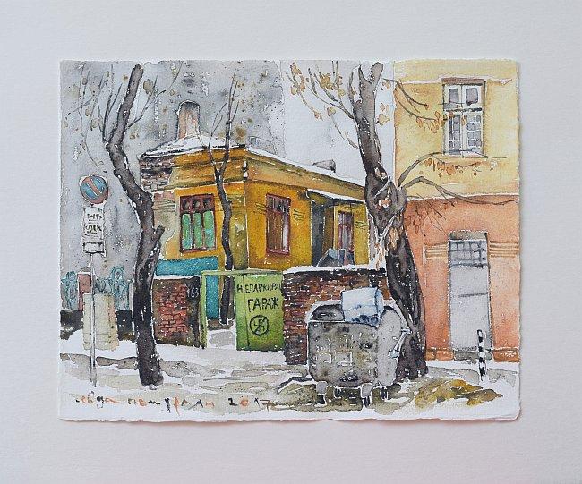 Севда Потурлян - софийска улица, акварел