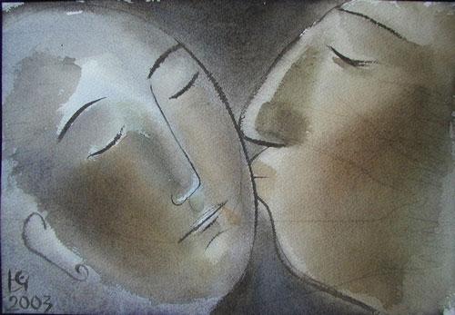 """Юлия Станкова - """"Целувка"""", акварел, 2003 г."""