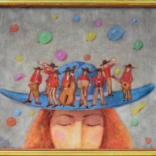 Peter Dimov - Sinioto sombrero- 50x60