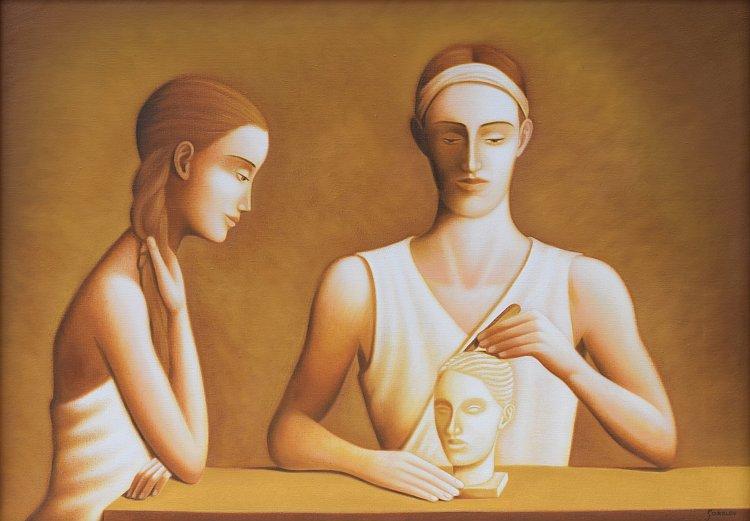 Stefan Sakalov -Momiche i skulptor-50x70