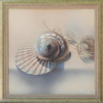 Maria Varbanova - Still Life with sea-shells-50x50