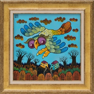 Guido Vedovato - Owl over the village-30x30 cm-2011