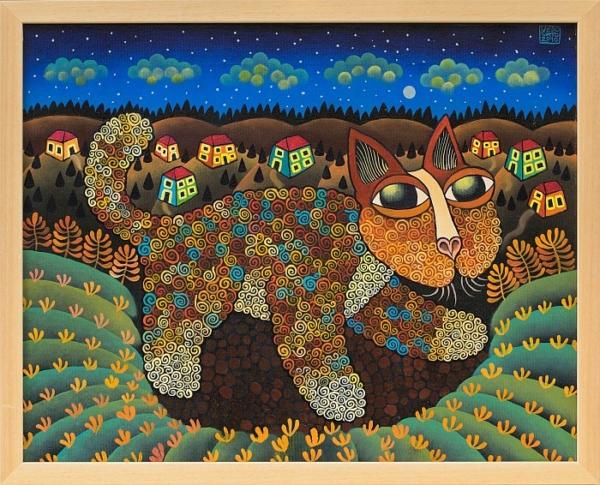 Guido Vedovato - Noshten peyzazh s kotka-40x50-2010
