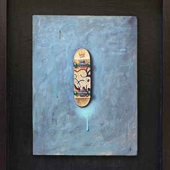 Iskren SEMKOV- Composition in blue-24.5x18.5-wood-panel-36x30-framed-2012