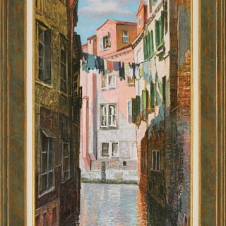 Ivan Stratiev- Venecianski kanal s rozovi kashti i prane-60x30-2019