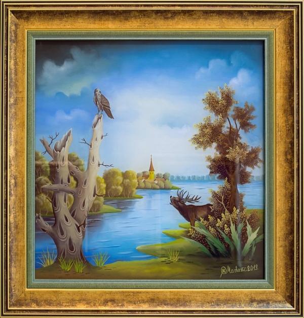 Mirko Markevic (Croatia)- Painting on glass, 42x42cm