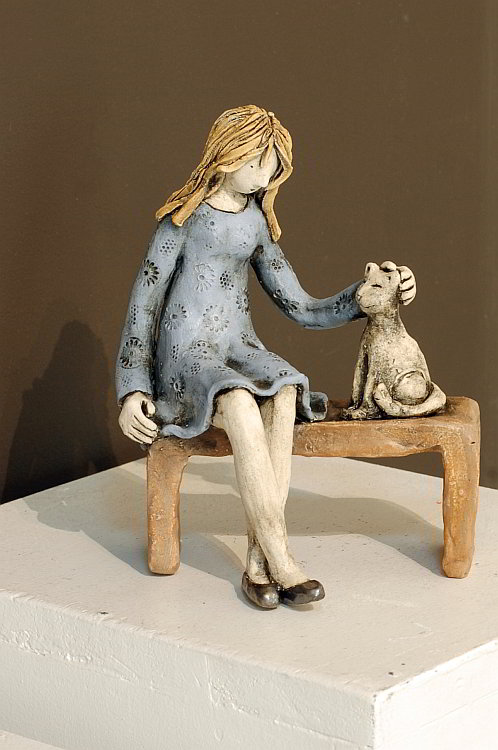 Izabell - Girl with cat-17x13x10cm