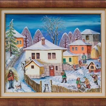 Dimitar Vetsin- Zima na selo-38x46cm-2020