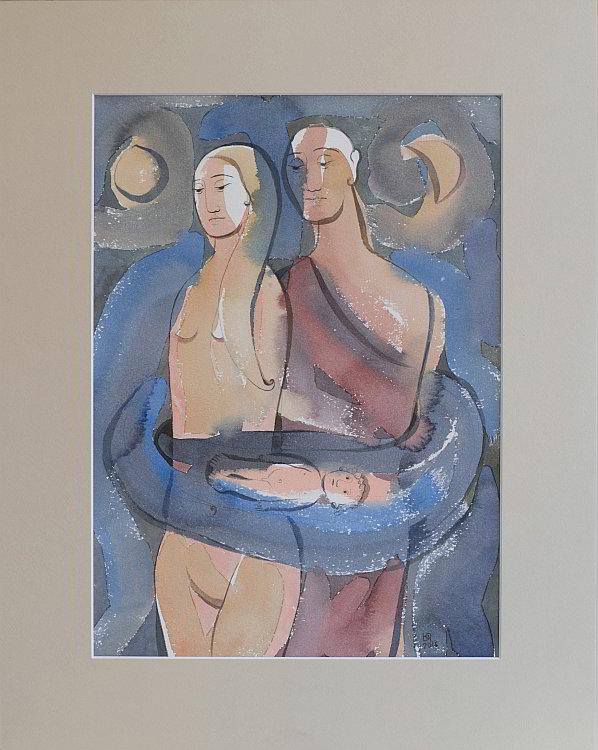 Julia Stankova-akvarel-Edip i negovite roditeli-35x25-47x37