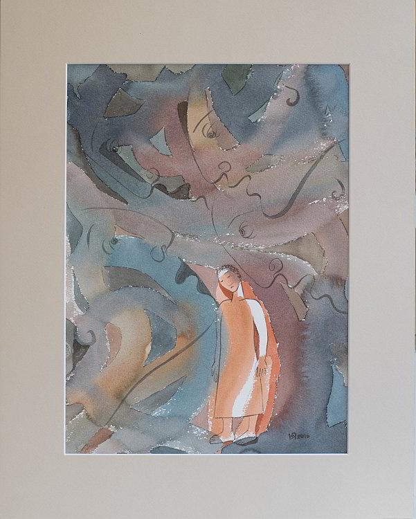 Julia Stankova-akvarel-Samota-35x25-47x37