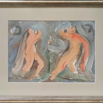 Julia Stankova-akvarel-Tantsuvashti-v-Raya-43x53-s-ramka