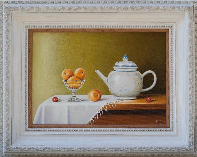 Biser DIMITROV- Natyrmort s chainik i plodove-18x25