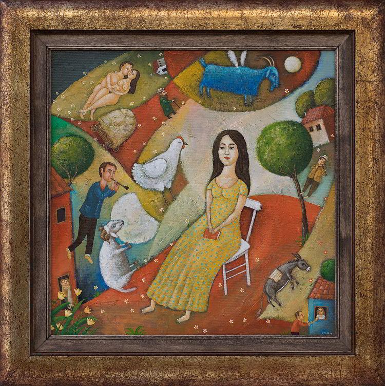 Stoyan Bozhkilov- Fragmenti ot lyatna vecher-40x40cm